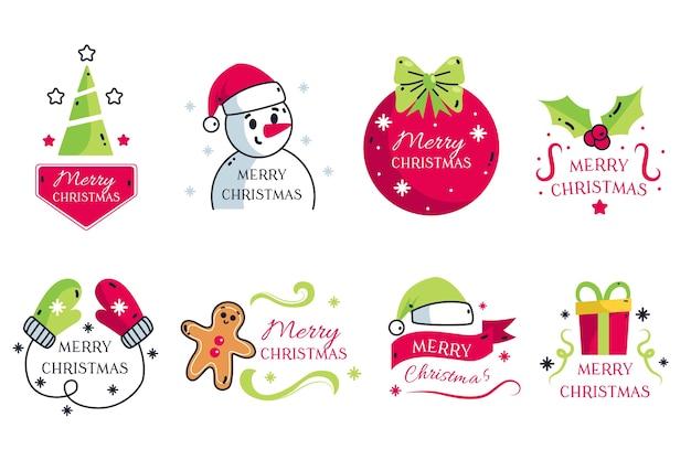 Hand gezeichnete weihnachtsausweissammlung