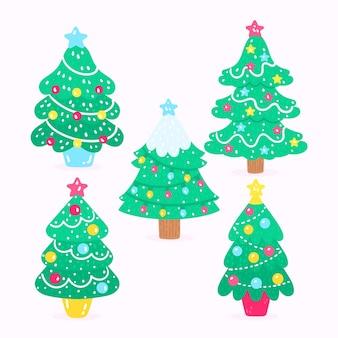 Hand gezeichnete weihnachtsbäume gesetzt