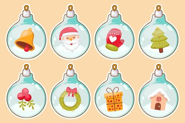 Hand gezeichnete weihnachtsballverzierungen