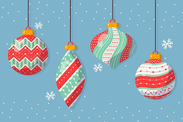 Hand gezeichnete weihnachtsballverzierungssammlung