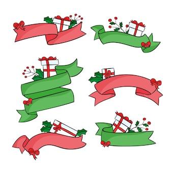Hand gezeichnete weihnachtsband-sammlung