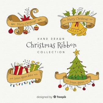 Hand gezeichnete weihnachtsbandsammlung
