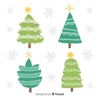 Hand gezeichnete weihnachtsbaumsammlung