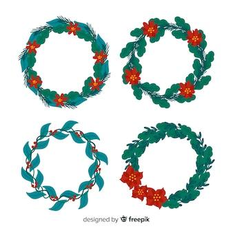 Hand gezeichnete weihnachtsblumen- u. -kranzsammlung