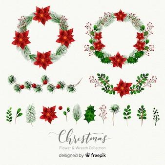 Hand gezeichnete weihnachtsblumen- und -kranzansammlung