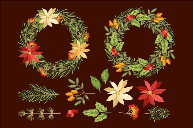 Hand gezeichnete weihnachtsblumen- und -kranzsammlung