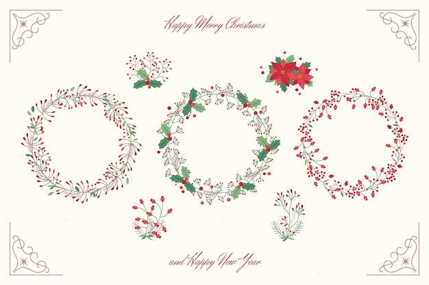 Hand gezeichnete weihnachtsblumen- und kranzsammlung