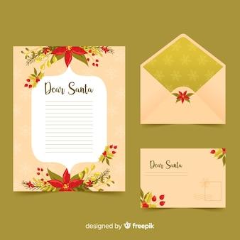 Hand gezeichnete weihnachtsbriefpapierschablone mit blumen