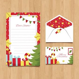 Hand gezeichnete weihnachtsbriefpapierschablone