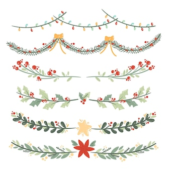 Hand gezeichnete weihnachtsdekoration sammlung