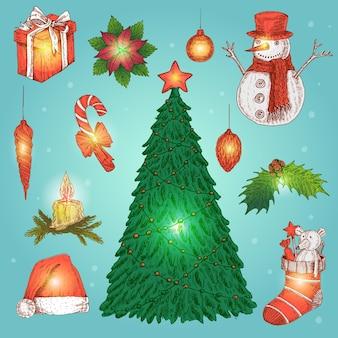 Hand gezeichnete weihnachtsdekoration set
