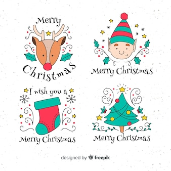 Hand gezeichnete weihnachtselementaufklebersammlung