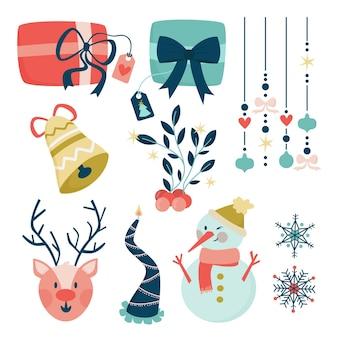 Hand gezeichnete weihnachtselemente gesetzt