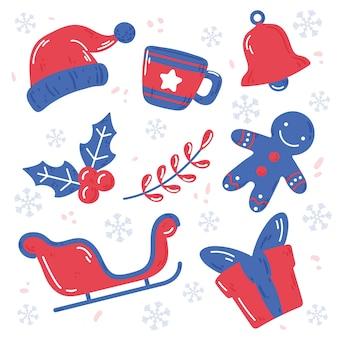 Hand gezeichnete weihnachtselementsammlung