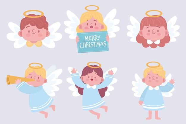 Hand gezeichnete weihnachtsengelssammlung