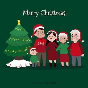 Hand gezeichnete weihnachtsfamilienszene