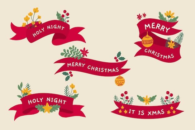 Hand gezeichnete weihnachtsfarbbandsammlung