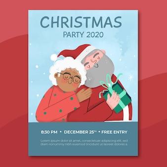 Hand gezeichnete weihnachtsfeier flyer vorlage mit foto