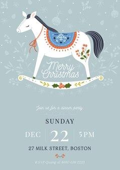 Hand gezeichnete weihnachtsfeier flyer vorlage