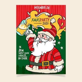 Hand gezeichnete weihnachtsfeierplakatschablone