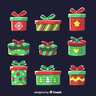 Hand gezeichnete weihnachtsgeschenkkastensammlung