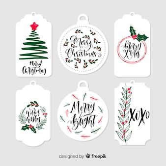 Hand gezeichnete weihnachtsgeschenkmarken