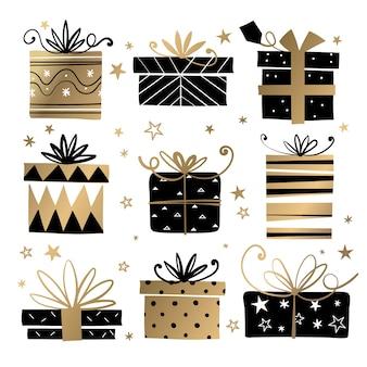 Hand gezeichnete weihnachtsgeschenksammlung