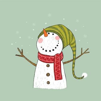 Hand gezeichnete weihnachtsgrußkarte mit schneemann