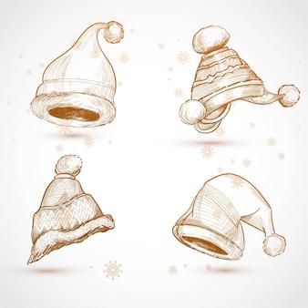 Hand gezeichnete weihnachtshüte skizzieren set-design