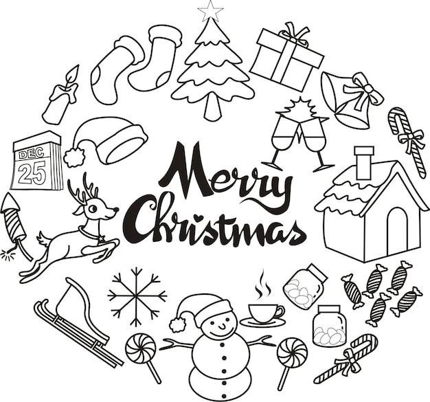Hand gezeichnete weihnachtsikonen in der kreisgekritzelart