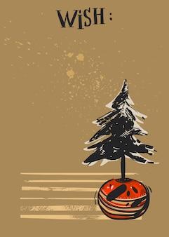 Hand gezeichnete weihnachtskarte mit weihnachtsbaum im topf.