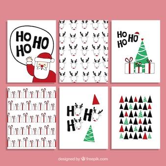 Hand gezeichnete weihnachtskarten-sammlung