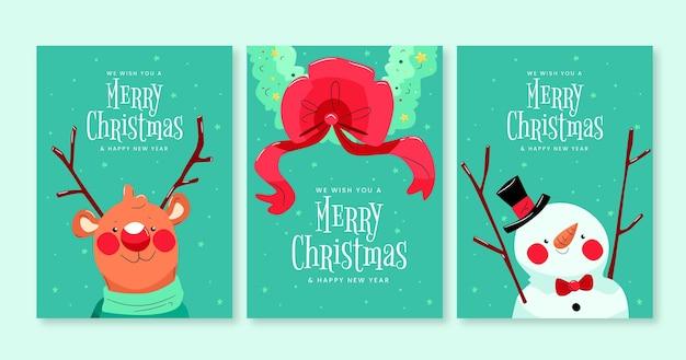 Hand gezeichnete weihnachtskartensammlung