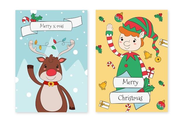 Hand gezeichnete weihnachtskartenschablone