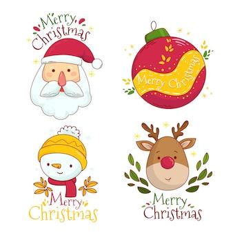 Hand gezeichnete weihnachtskennsatzsammlung