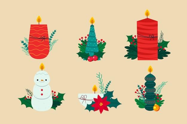 Hand gezeichnete weihnachtskerzensammlung