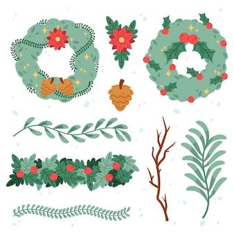 Hand gezeichnete weihnachtskranzpackung