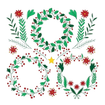Hand gezeichnete weihnachtskranzsammlung