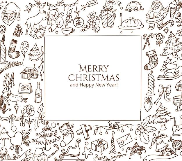 Hand gezeichnete weihnachtskritzelskizzen-karte