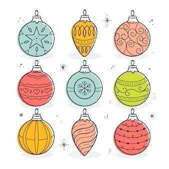 Hand gezeichnete weihnachtskugeln eingestellt