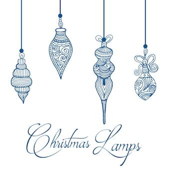 Hand gezeichnete weihnachtslampen-hintergrund