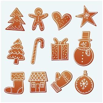Hand gezeichnete weihnachtslebkuchenplätzchen