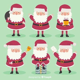 Hand gezeichnete weihnachtsmann-charaktersammlung