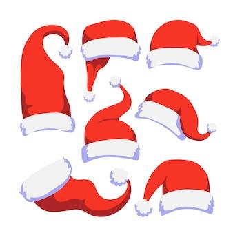 Hand gezeichnete weihnachtsmann-hut-sammlung