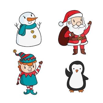 Hand gezeichnete weihnachtsmann-zeichensammlung