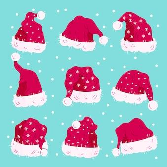 Hand gezeichnete weihnachtsmannhüte sammlung