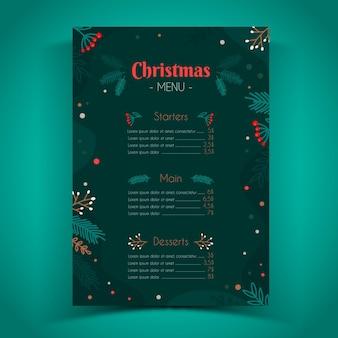Hand gezeichnete weihnachtsmenüschablone
