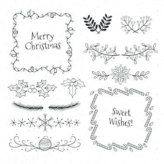 Hand gezeichnete weihnachtsrahmen und -grenzen auf weißer oberfläche