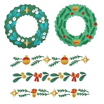Hand gezeichnete weihnachtsrahmen und -grenzen