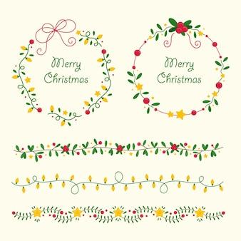 Hand gezeichnete weihnachtsrahmen und grenzsammlung